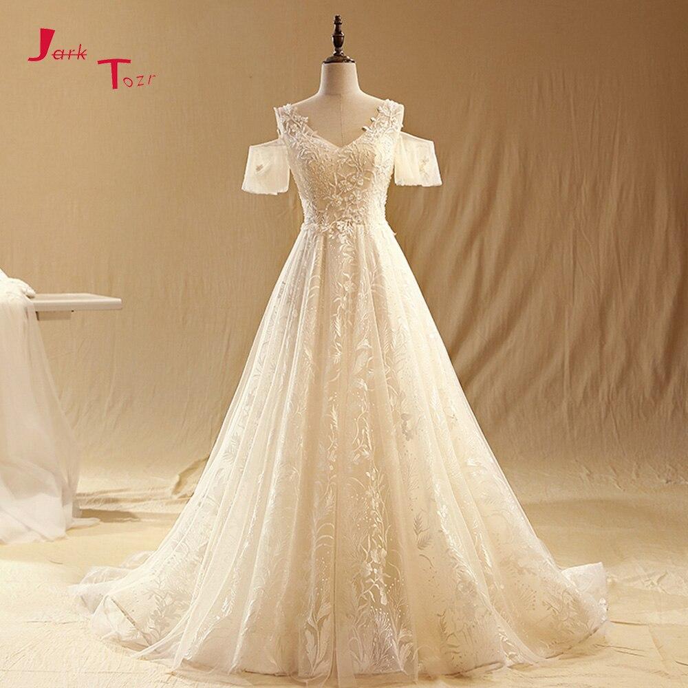 Short Sleeved Wedding Gowns: Jark Tozr Custom Made V Neck Short Sleeve Wedding Gowns