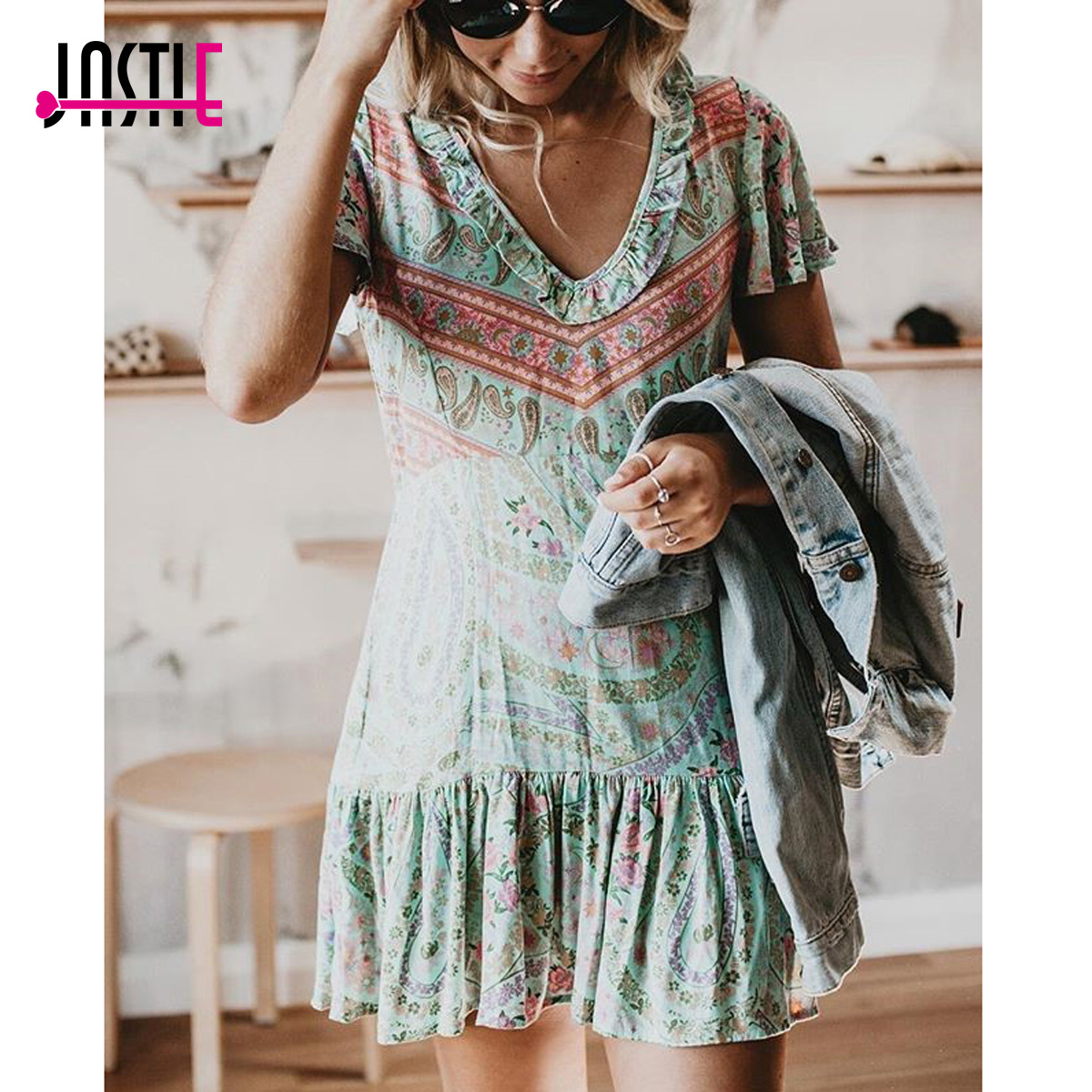 Jastie City Lights Mini Dress Frill V-Neck Short Sleeve Summer Dresses vintage Print Women Dress Boho Casual Beach Dresses 2019 Платье