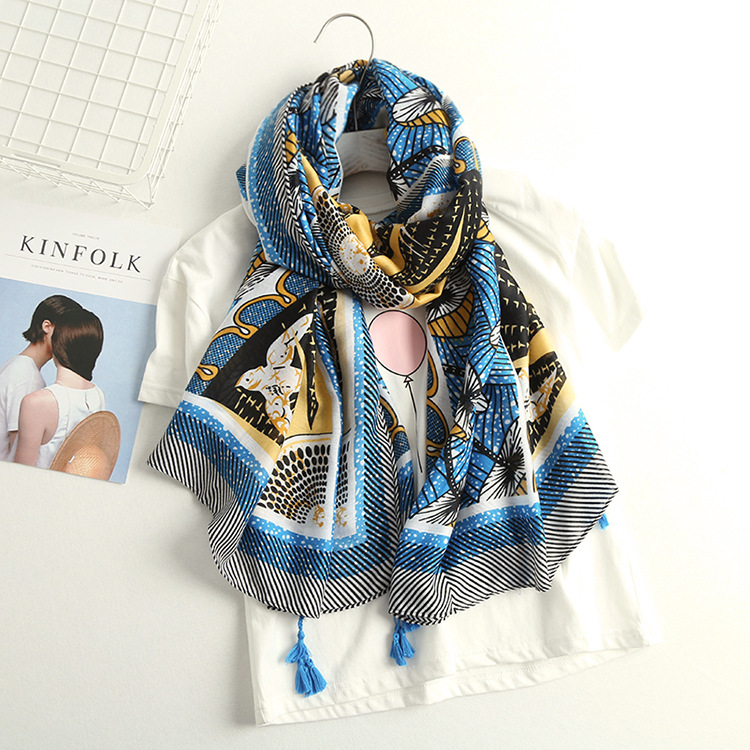 2017 New Beautiful Mushroom And Bird Pattern Tassel Cotton Scarf Long Sun Tassel Shawls Scarves Wrap Hijab 10pcs/LOT