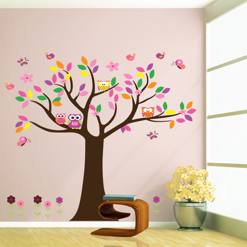 Colorful birds owls butterfly Flower Tree wall stickers