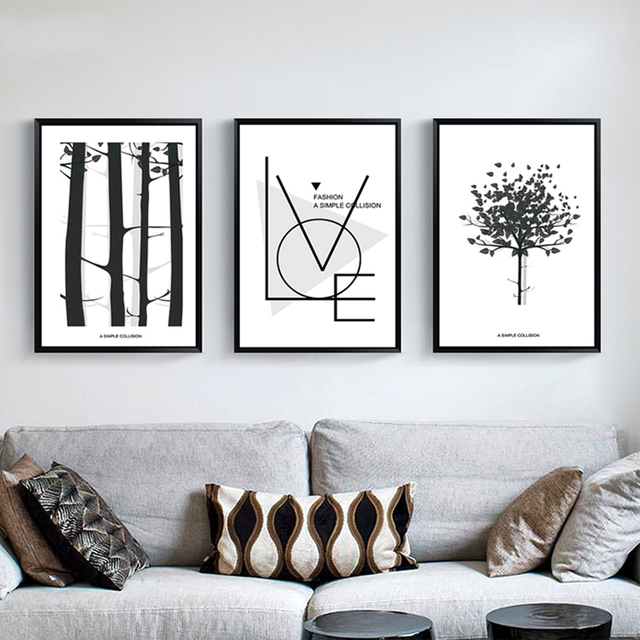 Aliexpresscom Buy Modern Black White Abstract Tree Canvas