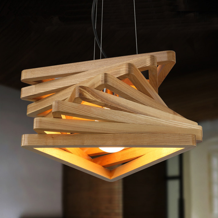 Nordic LED wood pendant lamp restaurant cafe bar solid wood living room Chandelier