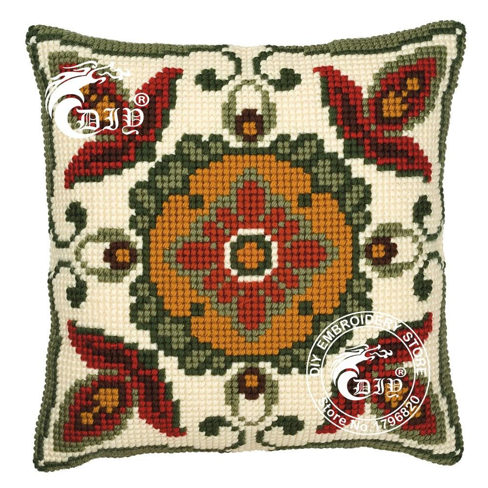 Diy Needlework Crafts Geometric Pattern Counted Cushion Front Cross