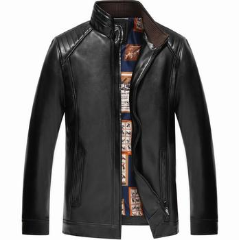 Winter thickening motorcycle leather jacket men jaqueta de couro masculino business casual stand collar mens leather jackets