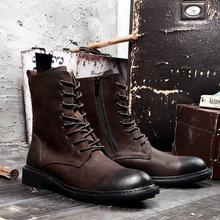 Мужские ботинки из натуральной кожи на шнуровке; ботильоны martin; винтажные рабочие ботинки; повседневная обувь с высоким берцем, визуально увеличивающая рост, на молнии сбоку