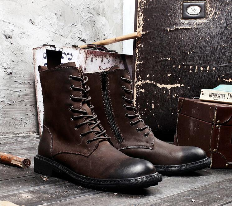 Lace Up Genuine Leather Men's Boots Ankle Martin Boot Vintage Work Boots Side Zipper High Top Height Increasing Casual Shoes набор охладительных рубашек для вина и игристых вин vacu vin платина