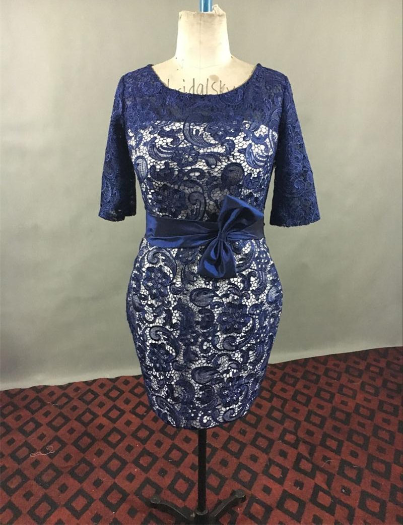 Navy blue mother of the bride dresses lace appliques knee for Dress and jacket for wedding guest
