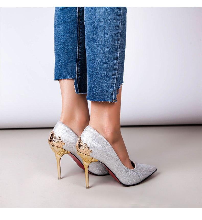 2019 새로운 도착 지적 발가락 사무실 단단한 무리 하이힐 최고 품질의 우유 흰색 색상-에서여성용 펌프부터 신발 의  그룹 1