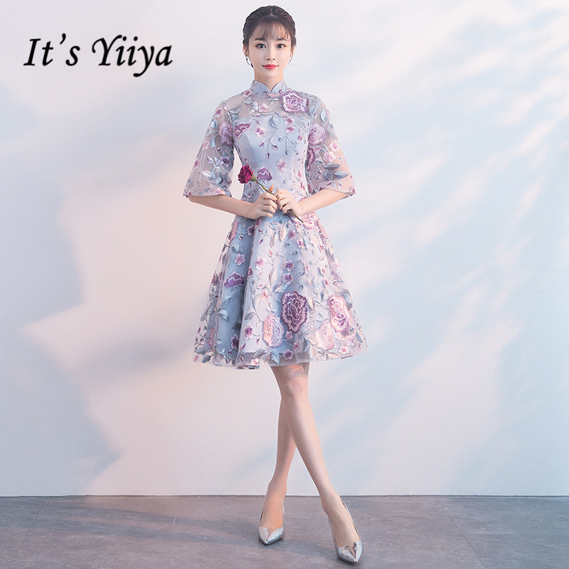 It's YiiYa Luxury High Collar Half Sleeve Floral Print Lace   Cocktail     Dresses   Knee-Length Formal   Dress   Party Gown MX051