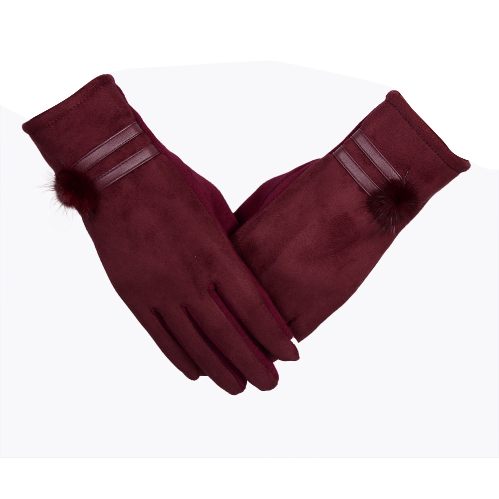 Glove 2019 Women Black Glove Winter Warm Soft Wrist Gloves Mittens Gloves Luvas Femininas-30