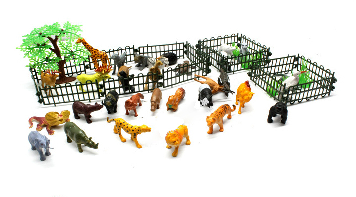 53Pcs/Pack NEW Animals Club Kids Toys for Perceptivity Developing Simulation Plastic Mini Animals toys For Kids to Know Animals