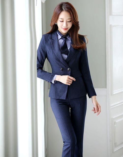 d8258e14dc3e76 Hoge Kwaliteit Dames Blauw Blazer Vrouwen Pakken Formele Office Suits  Werkkleding Uniformen Broek en Jas Set