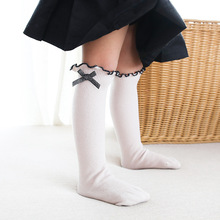 YOOAP  Spring and summer childrens socks girls pile bow lace double needle loose baby fashion
