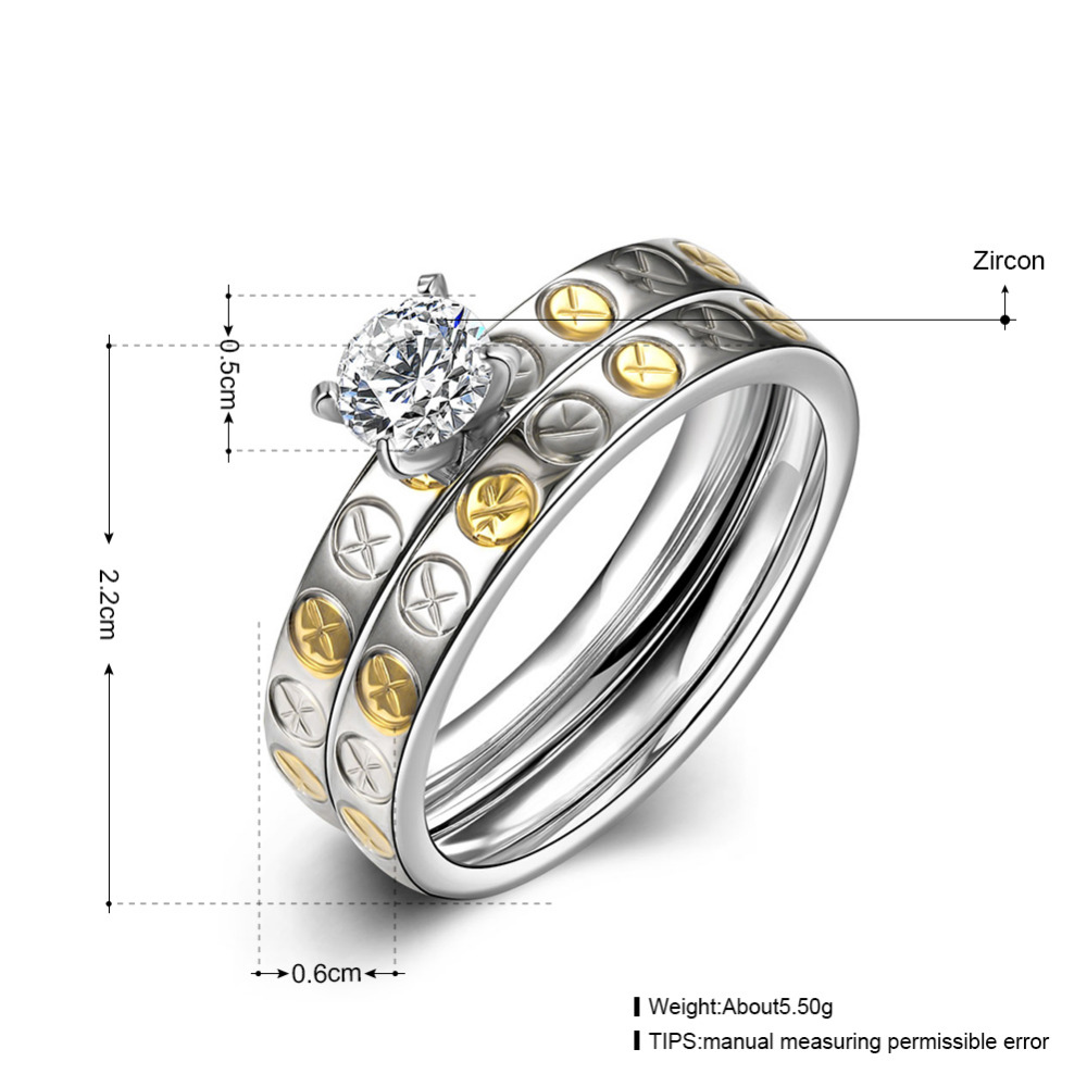 Pair Rings set for women men lovers fashion Zircon crystal Two-tone plated Engagement Wedding couple Ring jewelry bague gift