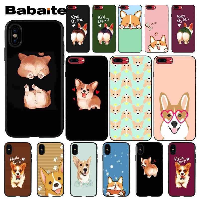 Babaite かわいいコーギー漫画犬カスタム写真ソフト電話ケース用 8 7 6 6S プラス X XS 最大 5 5S 、 SE XR 携帯カバー