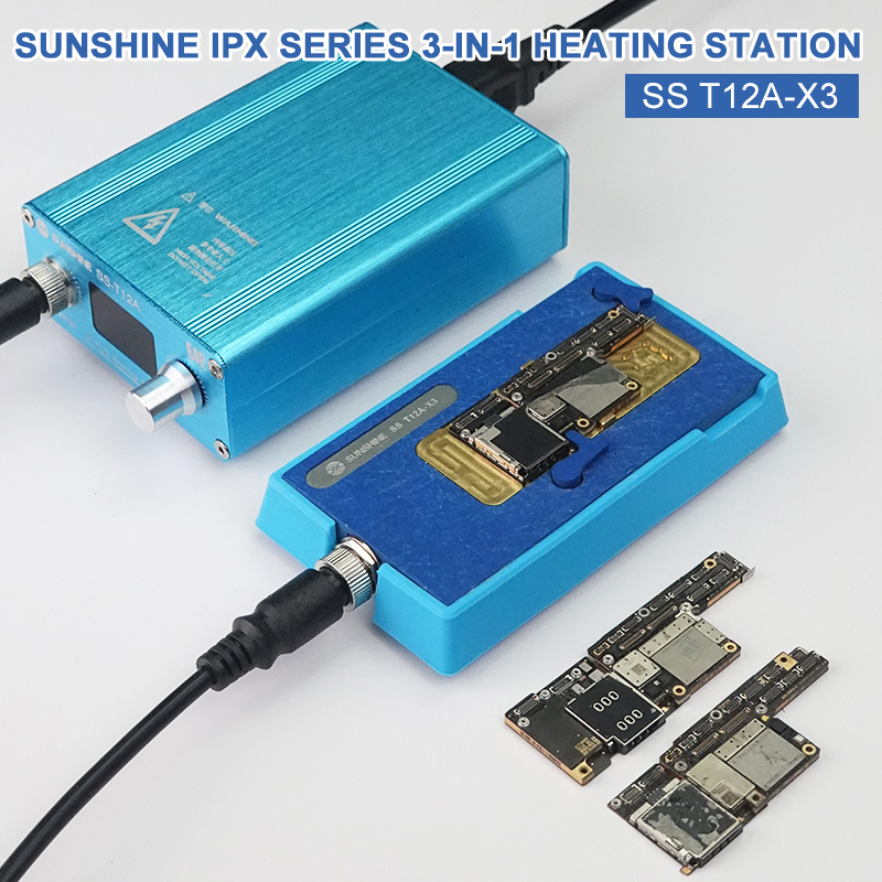 SUNSHINE 3 In 1 Heating Station SS T12A-X3 For IPhone X XS XSMAX PCB CPU Heat Degumming Heating Plate Glue Removal Platform