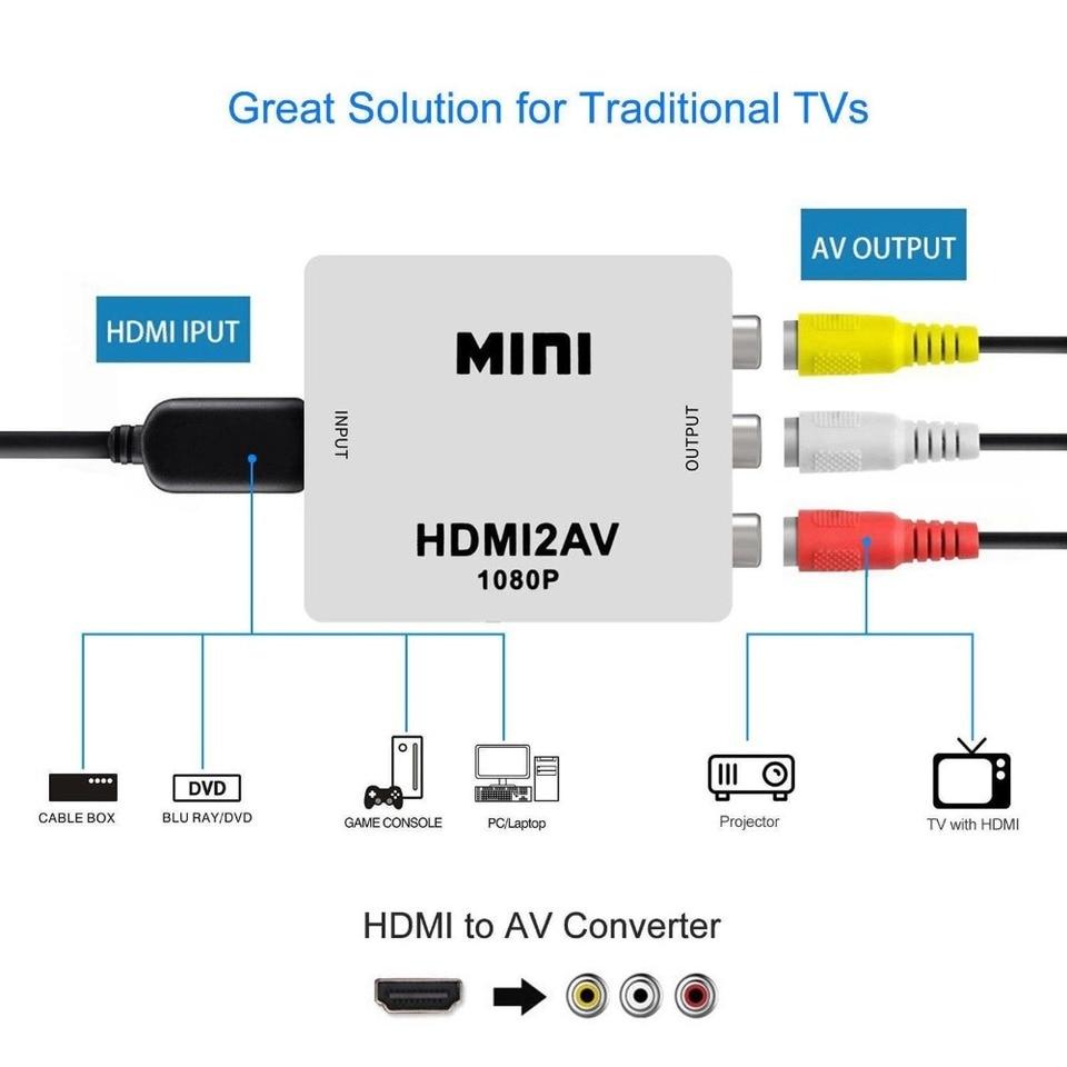 Hdmi Untuk Av Scaler Adaptor Hd Video Converter Kotak Hdmi Untuk Rca Av Cvsb L R Video 1080p Hdmi2av Dukungan Ntsc Pal Drop Pengiriman Hdmi Cables Aliexpress