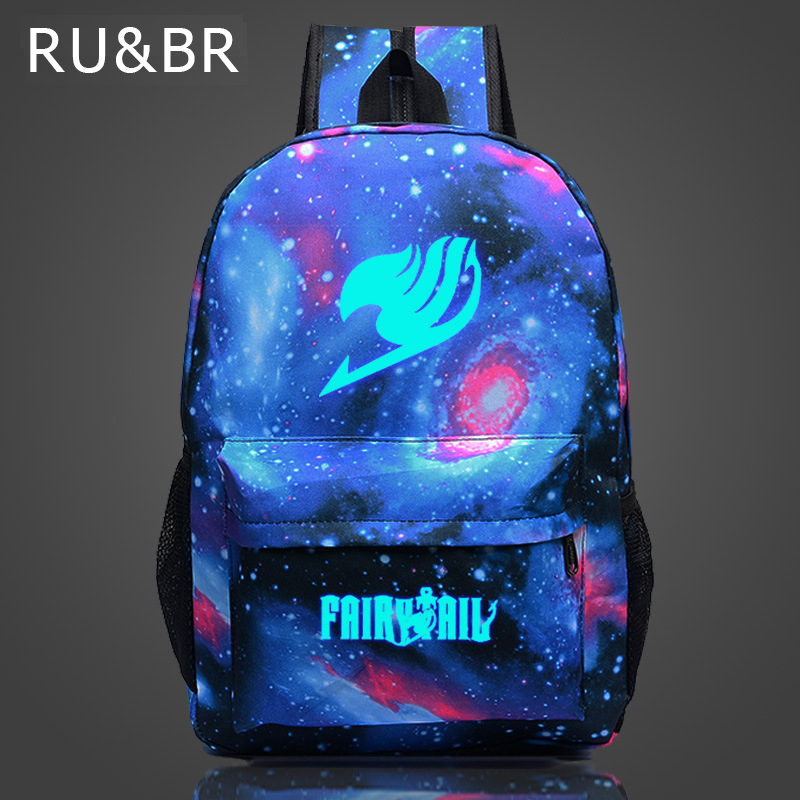 RU&BR Fairy Tail Backpack Cartoon Travel Bag Japan Anime Printing School Bag for Teenagers Nylon  Galaxia Magic Backpacks japan anime cardcaptor sakura backpack school bag shoulder bag printing pink backpack
