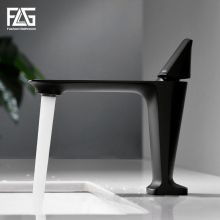FLG Basin Faucet Morden Black Faucet Tap Bathroom Sink Faucet Single Handle Hole Deck Mounted Wash Hot Cold Mixer Tap Crane1090 stainless steel deck mounted single cold nickel brushed sink faucet basin faucet tap mixer