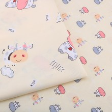 Haisen,Yellow Cartoon Printed Twill Cotton Fabric,DIY Quilting Sewing For Baby&Child Sheet,Pillow,Toys cloth Material Half Meter