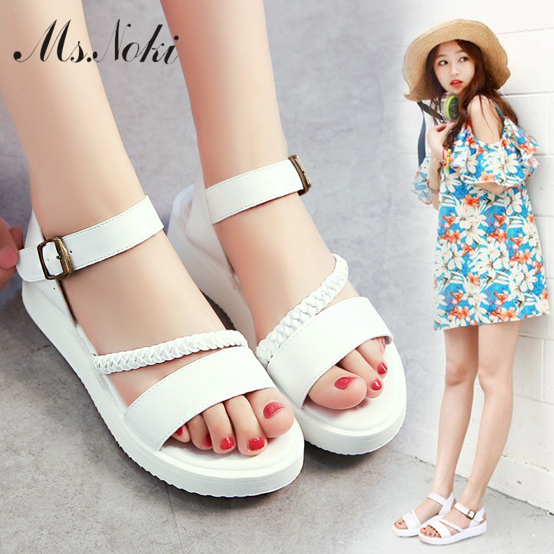 Ms.Noki women Summer Sandals open toe soft wedges white silver gladiator shoes woman beach comfortable Flip Flops casual flats 2017 gladiator summer shoes woman platform sandals women flats soft leather casual open toe wedges sandals women shoes r18