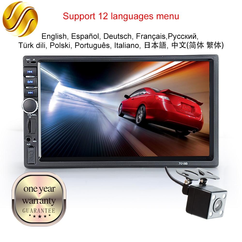"""Показателя viecar автомобиля Радио 2 DIN Bluetooth HD 7 """"Сенсорный экран стерео 12 В fm iso Мощность AUX Вход SD USB с/без Камера"""