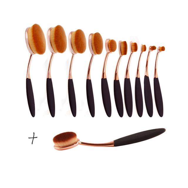 11 unids Rosegold del cepillo de Dientes de Alta Calidad Pinceles de Maquillaje Fundación Polvo de Sombra de Ojos eyeliner Brush (bolso del opp)