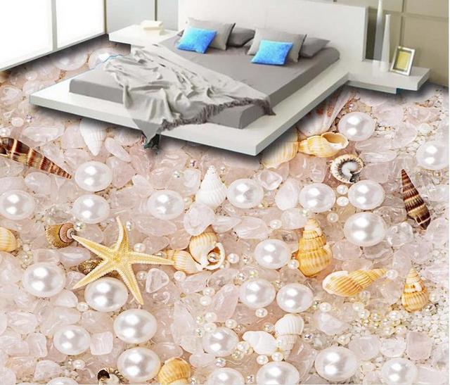 € 22.94 55% de réduction|Superbe 3d plancher mural papier peint perle  cristal coquilles 3d sol peintures murales étanche papier peint pour salle  de ...