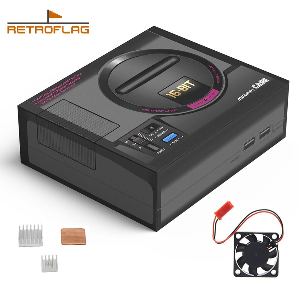 US $24 43 6% OFF Retroflag MEGAPi Case SEGA MEGA MD Style Retropie Game  Console for Raspberry Pi 3 Model B+(plus)/3B, Case with Fan Heatsinks  Kit-in