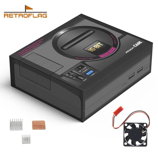 Retroflag MEGAPi מקרה סגה מגה MD סגנון Retropie משחק קונסולת עבור פטל Pi 3 דגם B + (בתוספת) /3B, מקרה עם מאוורר Heatsinks ערכת