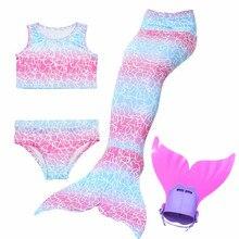 Rainbow Children Mermaid Tail with Monofin for Girls  Swimming  Mermaid Tail Swimwear Costume Gift