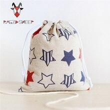 Raged Sheep Fashion Drawstring Cotton Grocery Shopping Bags Folding Shopping Cart Eco Grab Bag Reusable Baggu Star Print