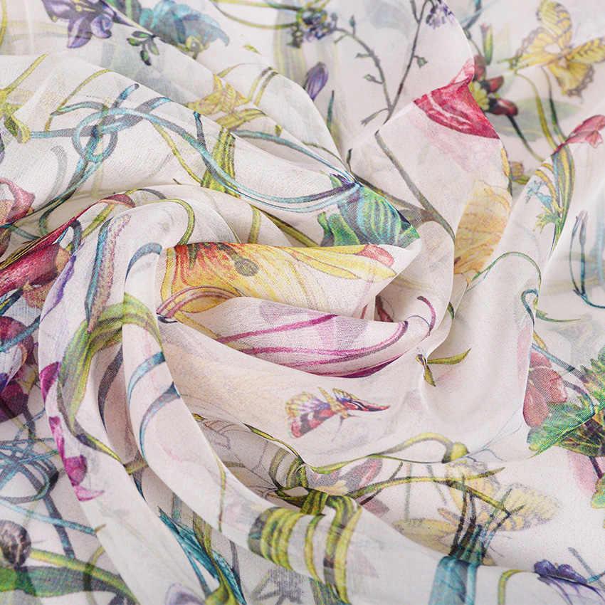 [BYSIFA] Weiß 100% Silk Schal Cape Fashion Floral Design Lange Schals Frauen Sommer Utralong Strand Schal Winter Scarves180 * 110cm