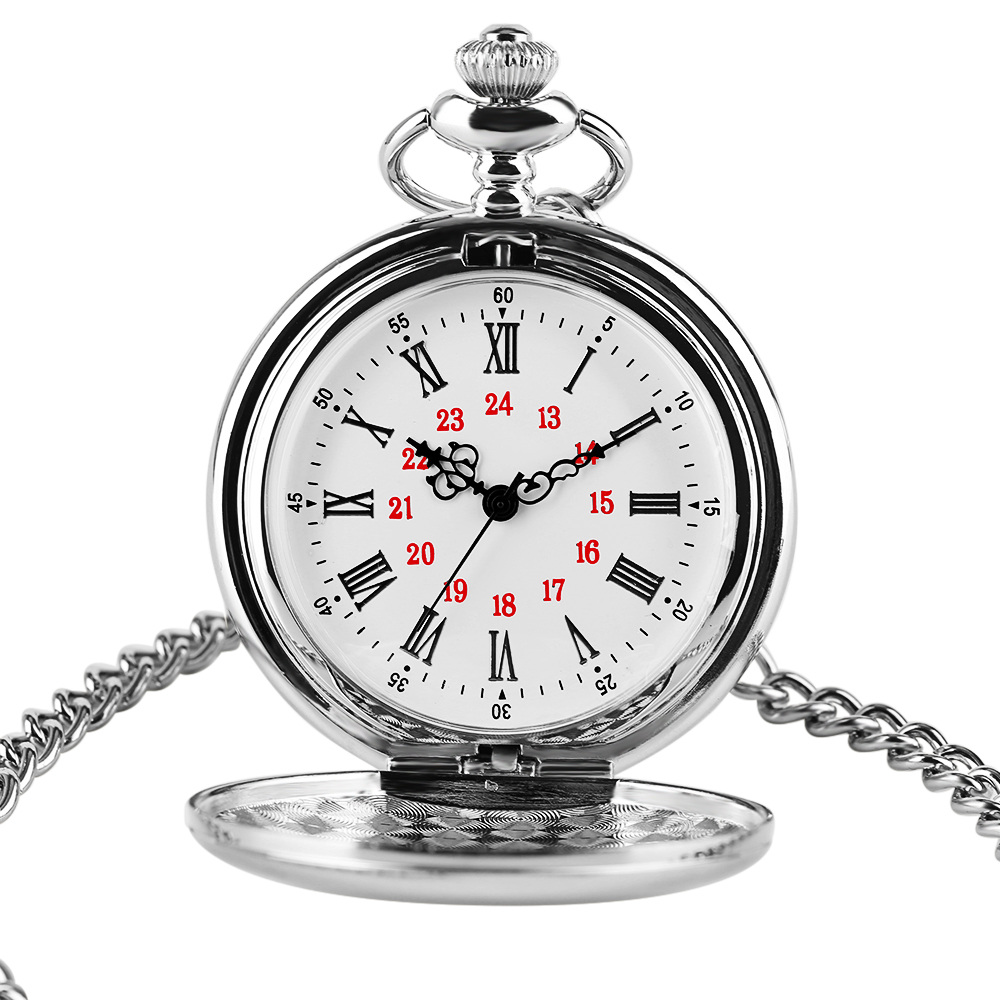 2020 Logo Custom Silver Smooth Quartz Pocket Watch Fob Chain Men Women Pendant Steampunk Roman Numerals Fashion Silver Necklace