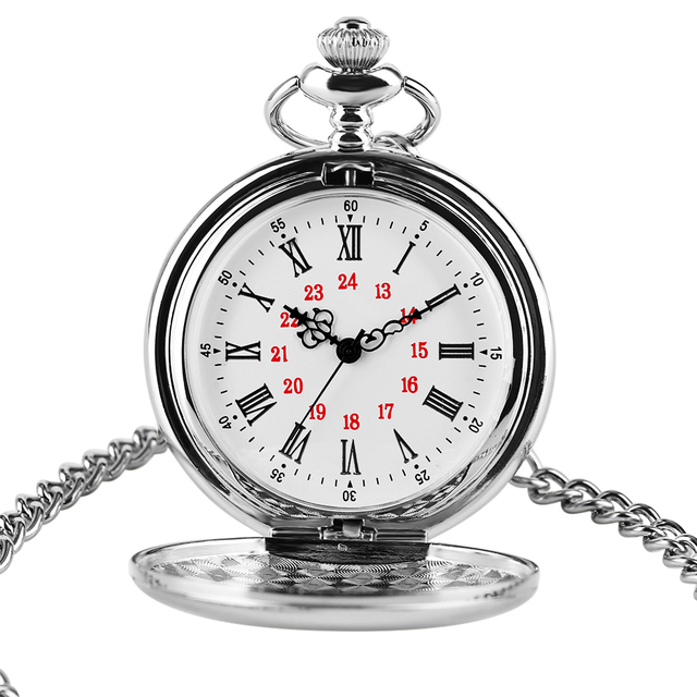 2020 Logo Custom Silver Smooth Quartz Pocket Watch Fob Chain Men Women Pendant Steampunk Roman Numerals Fashion Silver Necklace