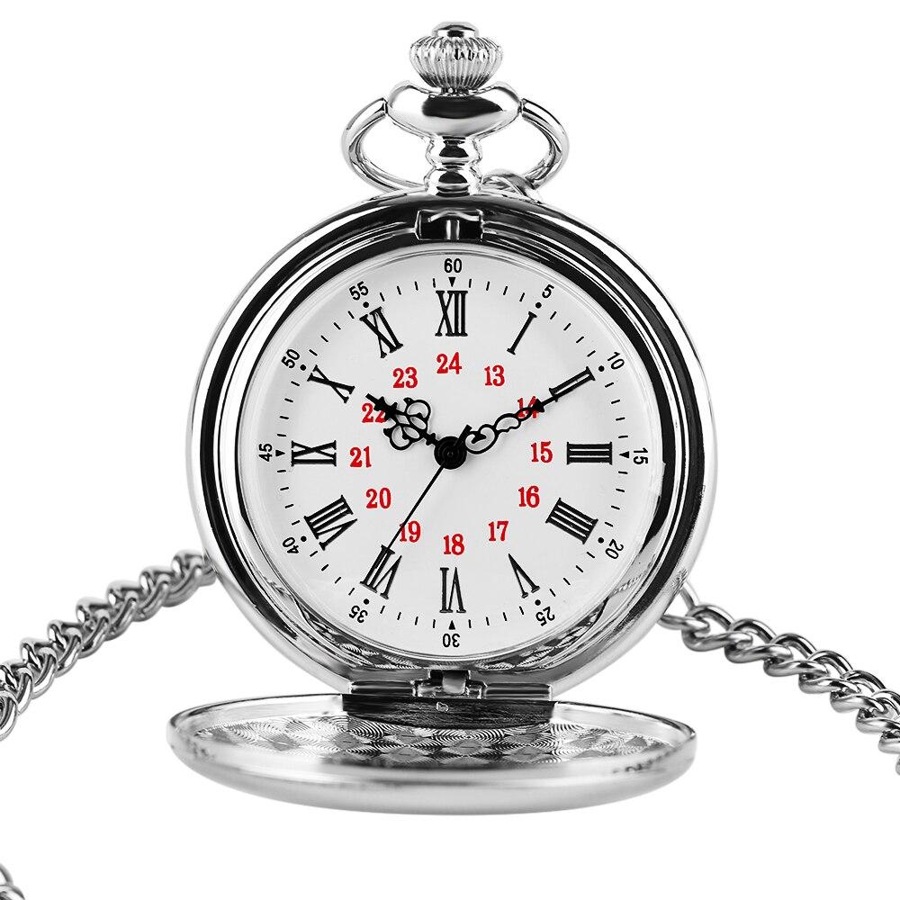 2020 New Arrival srebrny, gładki zegarek kieszonkowy kwarcowy łańcuch mężczyźni kobiety wisiorek Steampunk cyframi rzymskimi moda srebrny naszyjnik