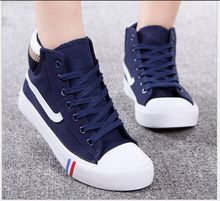 2017 Fashion high help female canvas shoes Students with athletic shoes Ms flat board shoes