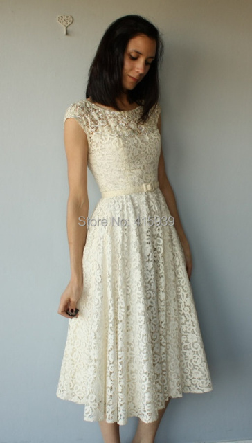 1950s Simple Winter Rehearsal Dinner Dress 50s Ivory Cutwork Lace Evening Women Gown Free Shipping