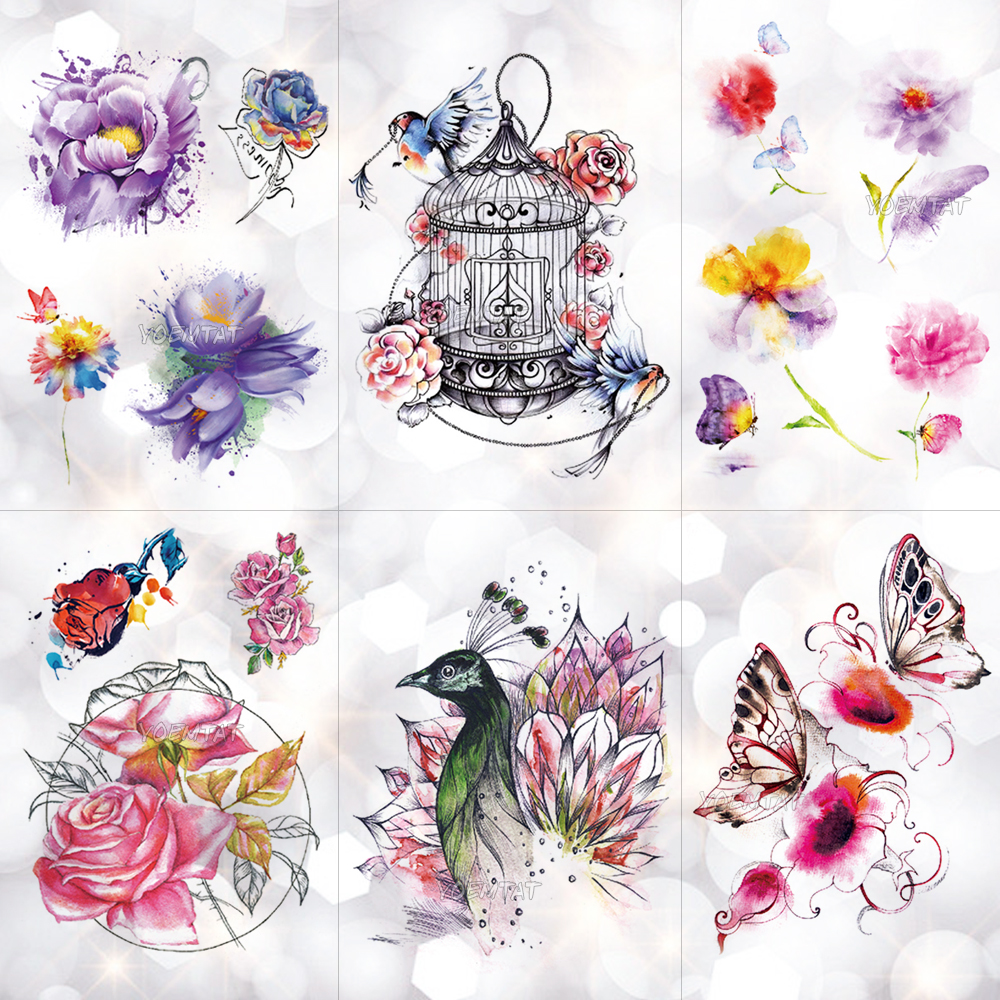 R36 37 De Descontogaiola De Pássaro Do Pavão Flores à Prova D água Etiqueta Do Tatuagem Temporária Body Art Braço Aquarela Desenho Tatuagem