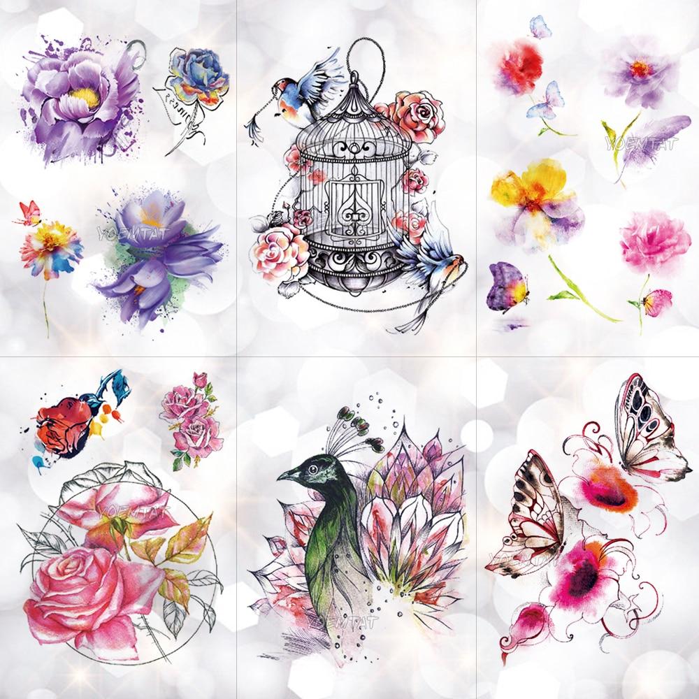 Vogel Käfig Pfau Blumen Wasserdicht Temporäre Tätowierung Aufkleber Körper Kunst Arm Aquarell Zeichnung Tattoo Schmetterling Rose Gefälschte Tattoo