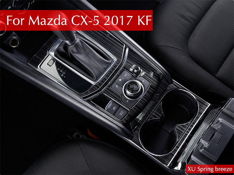 For Mazda CX-5 CX5 2017 2018 2nd Gen LHD Auto AT Gear Panel Stainless Steel Decoration Car Covers Car Stickers Car Styling for mazda cx 5 cx5 2017 2018 kf 2nd gen car co pilot copilot stroage glove box handle frame cover stickers car styling