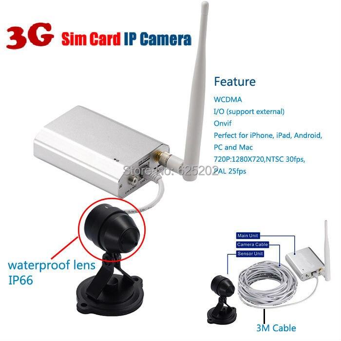 3G Sim Carte Réseau Mini Étanche 720 P CCTV Caméra Soutien 128 GB Carte SD Avec P2P et WPS