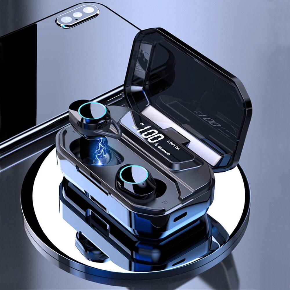 G02 TWS 5.0 Bluetooth 6D stéréo écouteurs sans fil écouteurs IPX7 étanche écouteurs 3000 mAh LED affichage batterie externe intelligente