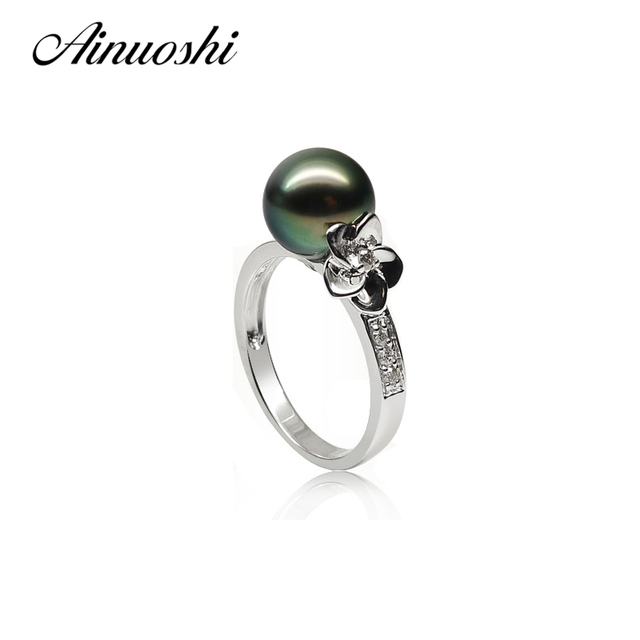 cf27d3360 AINUOSHI Natural South Sea Black Tahiti Pearl 9-9.5mm Round Pearl  Engagement Rings 925 Sterling Silver Flower Shaped Pearl Rings