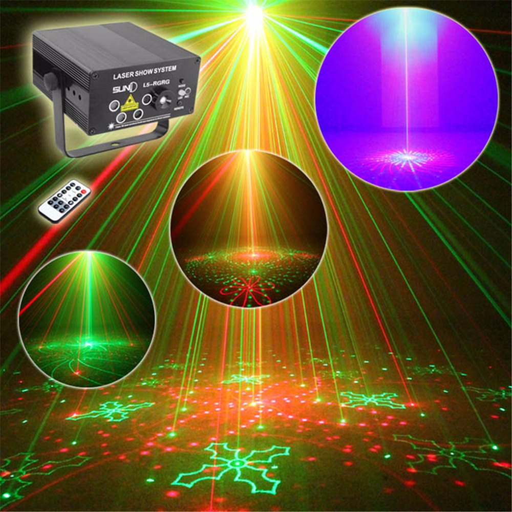 AUCD Mini Remote Music 5 Lens 80 Patterns Red Green Laser Mix Blue LED Stage Lighting DJ Bar Show Xmas Home Party Light Z80RGRG 3 lens 36 patterns rg blue mini led stage laser lighting professinal dj light red gree blue