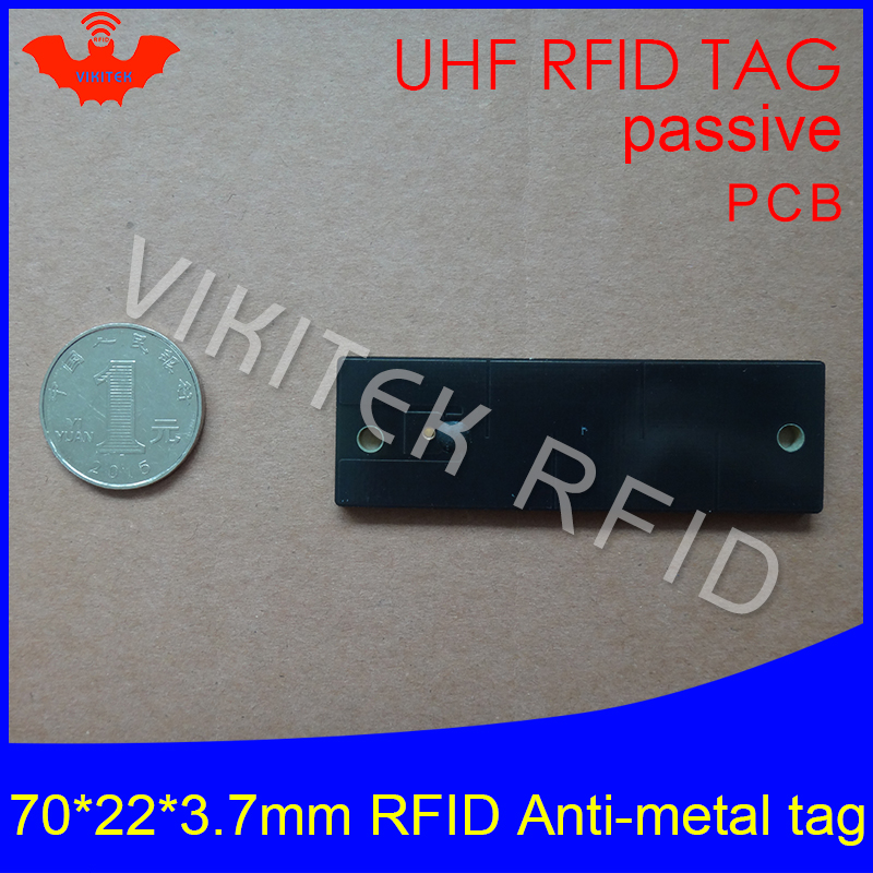 UHF RFID metal tag 915mhz 868mhz Alien Higgs3 EPCC1G2 6C 70*22*3.7mm fixed assets management PCB smart card passive RFID tags 1000pcs long range rfid plastic seal tag alien h3 used for waste bin management and gas jar management