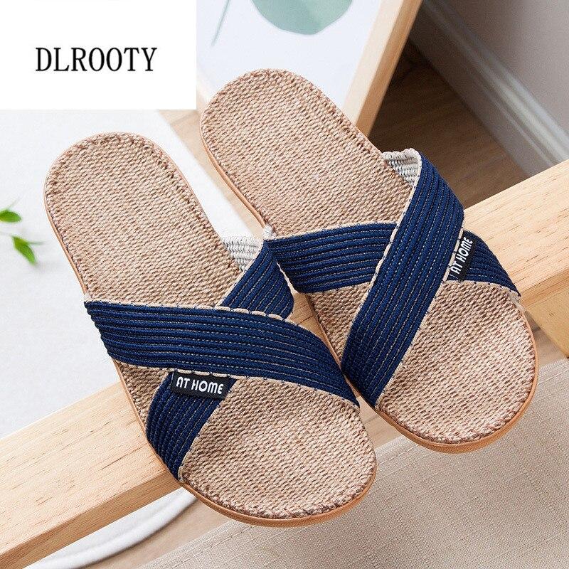 Men Slippers Sandals Flip Flops 2018 New Summer Fashion Breathable Hemp Non-slip Shoes Man Home Slides Solid Casual Female