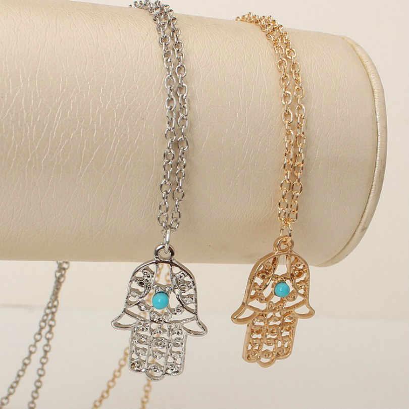 Overwatch чокер бросился Макси цепочки и ожерелья Collier ожерелье Модные аксессуары полые Фатима для ладони кулон женский длинный оптовая продажа