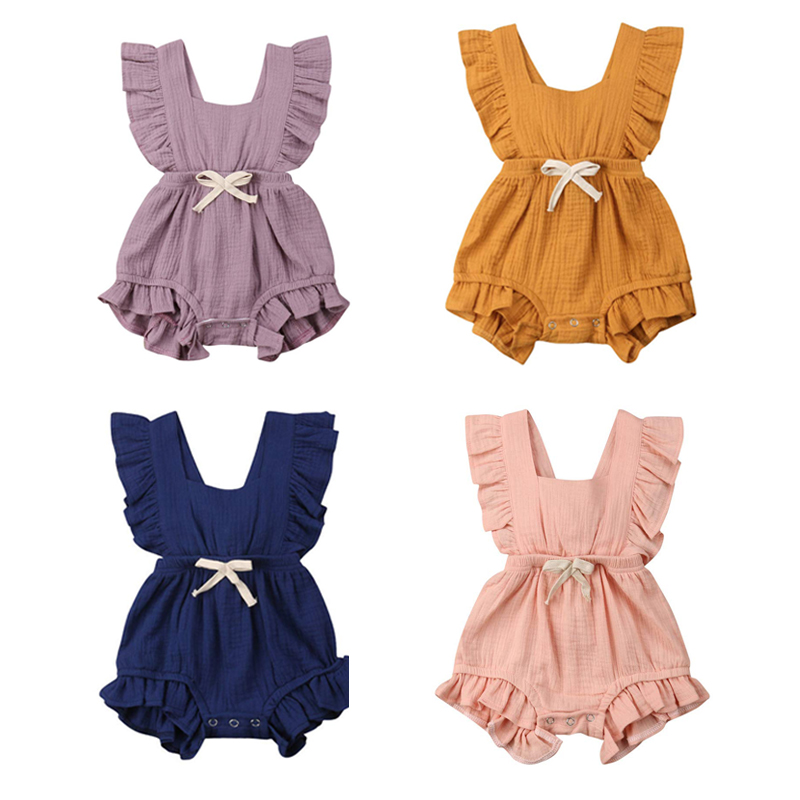 Summer Baby Girls Clothing Infant   Rompers   Toddler Girls Baby   Romper   Cotton Linen Solid Color Baby Clothes