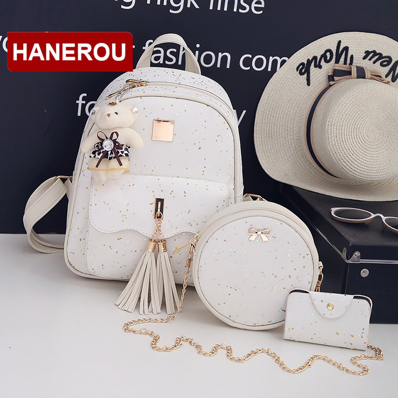 3Set/Pcs New Design Tassel Women Backpack Star Sequins PU Leather Backpacks For Teenage Girls School Bag Chain Shoulder Bag tegaote new design women backpack bags fashion mini bag with monkey chain nylon school bag for teenage girls women shoulder bags